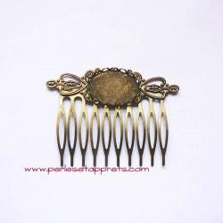 Peigne 10 dents 6cm cabochon ovale bronze laiton, pour cheveux à décorer, perles et apprêts