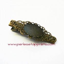 Pince croco rétro 60mm bronze laiton, cabochon ovale, pour cheveux, perles et apprêts