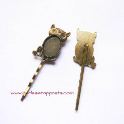Lot 2 épingles hibou chouette 30mm bronze laiton pour cheveux, perles et apprêts