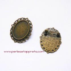 Broche ovale rétro 35mm bronze laiton , à décorer, perles et apprêts