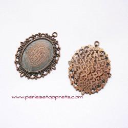 Pendentif ovale 60mm cuivre bronze à décorer, perles et apprêts