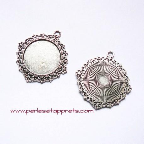 Pendentif rond 45mm vieil argent à décorer, perles et apprêts