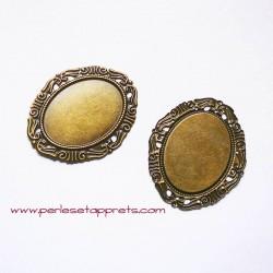 Pendentif ovale 53mm bronze laiton, à décorer, perles et apprêts