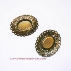 Pendentif ovale 47mm bronze laiton à décorer, perles et apprêts