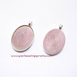 Pendentif ovale 40mm argent à décorer, perles et apprêts