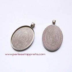 Pendentif ovale 40mm argent rhodié rodium à décorer, perles et apprêts