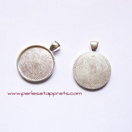 Pendentif rond 28mm argent à décorer, pour bijoux, perles et apprêts