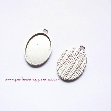 Pendentif ovale 32mm argent rhodié rhodium à décorer, perles et apprêts