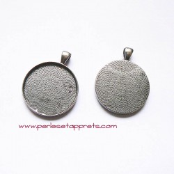 Pendentif rond 32mm argent noirci à décorer, pour bijoux, perles et apprêts