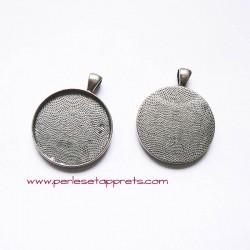Pendentif rond 40mm en métal argenté