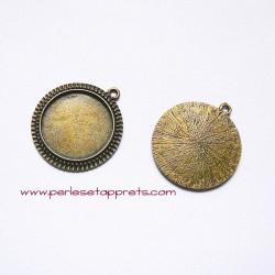 Pendentif rond 32mm bronze laiton à décorer, perles et apprêts