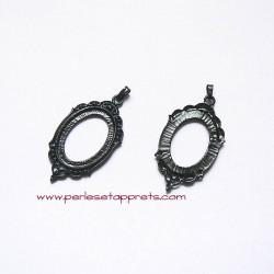Pendentif ovale 45mm noir gothique victorien en métal, à décorer, perles et apprêts