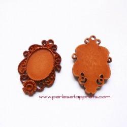 Pendentif ovale 50mm en résine marron à décorer, perles et apprêts