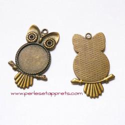 Pendentif hibou chouette 55mm bronze laiton à décorer, perles et apprêts