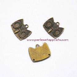 Pendentif tête hibou chouette 20mm bronze laiton, à décorer, perles et apprêts