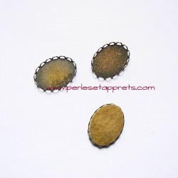 Pendentif connecteur ovale 25mm bronze laiton à décorer, perles et apprêts