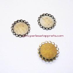 Lot 6 pendentifs connecteur rond 25mm bronze laiton à décorer, pour bijoux, perles et apprêts