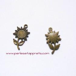 Lot 5 pendentifs fleurs 25mm bronze laiton à décorer, pour bijoux, perles et apprêts