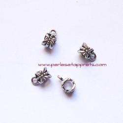 Lot 5 bélières ciselées 6mm vieil argent pour bijou, colliers, perles et apprêts