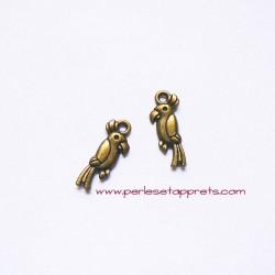 Lot 5 breloques perroquet 20mm bronze laiton, pour bijoux, perles et apprêts