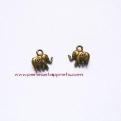 Breloque éléphant 12mm bronze laiton, pour bijoux, perles et apprêts