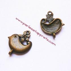 Lot 8 breloques oiseau en laiton bronze 2mm, pour bijoux, perles et apprêts