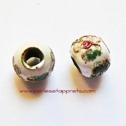 Perle ronde cloisonnée blanche 10mm