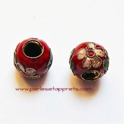 Perle ronde cloisonnée rouge 10mm