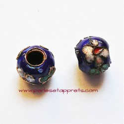Perle ronde cloisonnée bleue 10mm