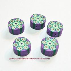 Perle ronde en fimo mauve 10mm, perles et apprêts
