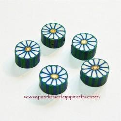 Perle ronde en fimo blanc vert 10mm, perles et apprêts