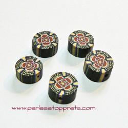 Perle ronde en fimo noir marron 10mm, perles et apprêts