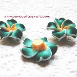 Perle fleur verte 20mm, cabochon en fimo pâte polymère pour bijoux, perles et apprêts