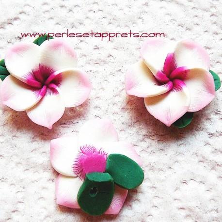 Perle fleur rose 25mm, cabochon en fimo pâte polymère pour bijoux, perles et apprêts