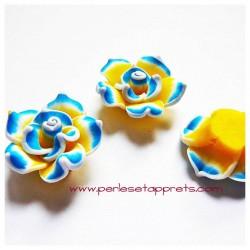 Perle fleur bleu jaune, cabochon 25mm en fimo pâte polymère, pour bijoux, perles et apprêts