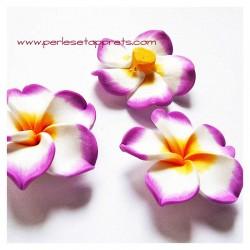 Perle fleur mauve blanc jaune 40mm, cabochon en fimo pâte polymère, pour bijoux, perles et apprêts