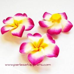 Perle fleur rose fuchsia 40mm, cabochon en fimo, pâte polymère pour bijoux, perles et apprêts