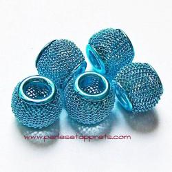 Perle en métal gros trou bleue 12mm