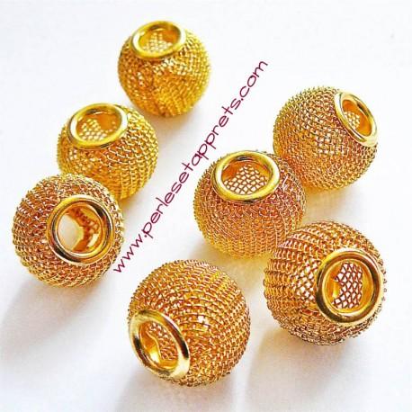 Perle en métal gros trou dorée 14mm