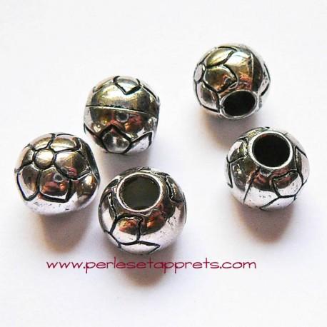 Perle en métal gros trou argentée fleur 14mm