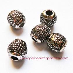 Perle en métal gros trou argentée ovale 14mm