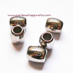 Perle en métal gros trou argentée ovale 10mm