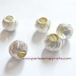 Perle en métal gros trou argentée 10mm