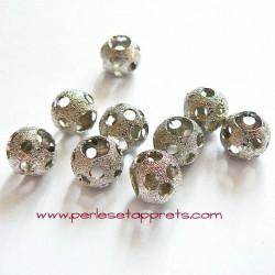 Perle en métal gros trou argentée trou 10mm