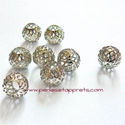 Perle en métal gros trou argentée filigrane 10mm