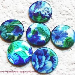 Perle nacre 25mm bleu vert