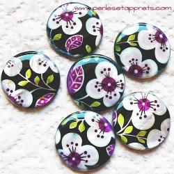 Perle nacre 25mm noir violet