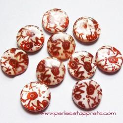 Perle de nacre blanc marron 15mm pour bijoux, perles et apprêts