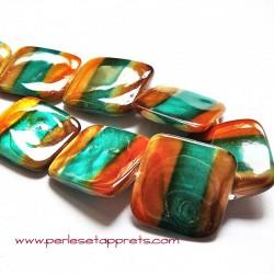 Perle de nacre carrée marron vert orange 20mm pour bijoux, perles et apprêts