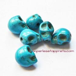 Tête de mort, skull, howlite bleu 10mm, pour bijoux, perles et apprêts